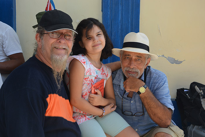 Mo and Edesio Alejandro and little Camilita during shooting the film Mambo Man in Bayamo, Cuba
